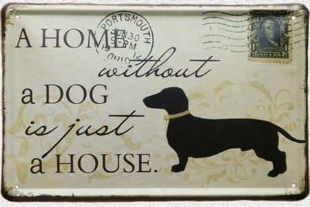 Plechová nástenná tabuľa so psíkom
