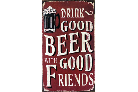 Plechová nástenná tabuľa pre milovníkov piva